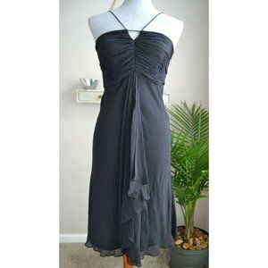 Kenar Black Silk Spaghetti Strap Cocktail Dress